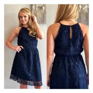 Skies are Blue crochet lace halter dress navy M